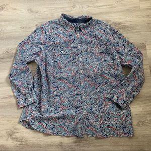 Talbots paisley print button blouse 2x